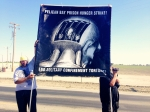 Banner: Solidarity with Pelican Bay SHU hunger strikers