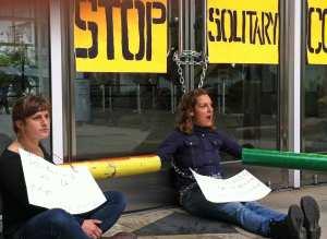 Protestors lock doors at CA State Office Bldg
